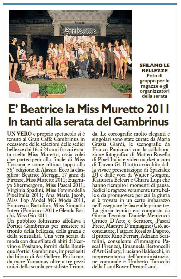 La Nazione 25.06.2011 Montecatini - pag.27 Miss Gambrinuss
