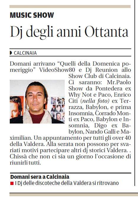 il Tirreno dj reunion show club27.3